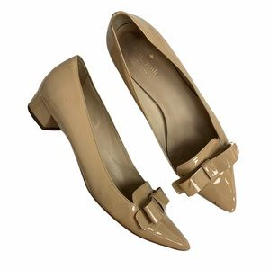 Kate Spade Nude Patent Leather Low Block Heel Bow